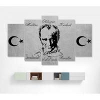 Gri Zemin Mustafa Kemal Atatürk Temalı Kanvas Tablo