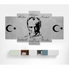 Gri Zemin Mustafa Kemal Atatürk Temalı Kanvas Tablo,kanvas tablo,uygun fiyatlarla