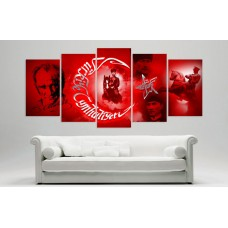 Yeni Gazi Mustafa Kemal Atatürk Kirmizi Zemin Temali Kanvas Tablo,kanvas tablo,uygun fiyatlarla
