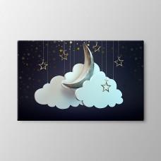 Bulutlar ve Ay,kanvas tablo,uygun fiyatlarla