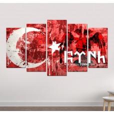 Ay Yıldız Göktürkçe Türk Yazılı Kanvas Tablo