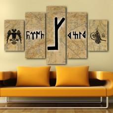 Göktürkçe Yazılı Kartal ve Tuğra Temalı Kanvas Tablo,kanvas tablo,uygun fiyatlarla