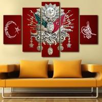 Kırmızı Zemin Ay Yıldız Osmanlı Tuğralı Kanvas Tablo