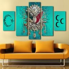 Turkuvaz Osmanlı Armalı 3 Hilal ve Ay Yıldız Temalı Kanvas Tablo,kanvas tablo,uygun fiyatlarla