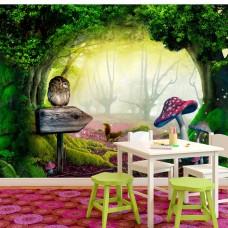3D Efekt Çocuk odası için Fantazi orman Duvar Kağıdı