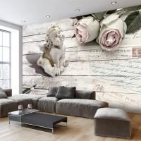 3D Efekt Melek ve Eskitme Ağaç panolar Duvar Kağıdı