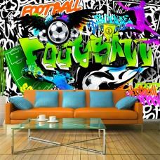 3D Efekt Sokak Sanatı Çalışması Çocuk odası için Futbol temalı Duvar Kağıdı