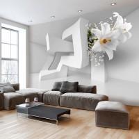 3D Efekt Soyut Nesneler ve Çiçek 3 Boyutlu Duvar Kağıdı-2