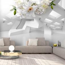 3D Efekt Soyut Nesneler ve Çiçek 3 Boyutlu Duvar Kağıdı