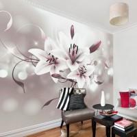 3D Efektli Zambak Çiçegi Temalı Duvar Kagıdı Modeli