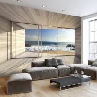 3d Efekti Balkon Ve Deniz Manzaralı Duvar Kagıdı