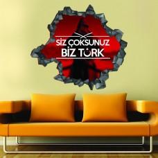 Siz Çoksunuz Biz Türk 3d Duvar Stickerı